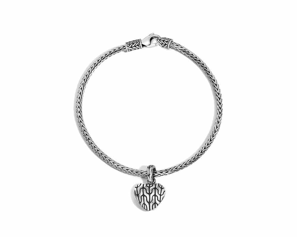 John Hardy Heart Sterling Silver Charm Mini Chain Bracelet