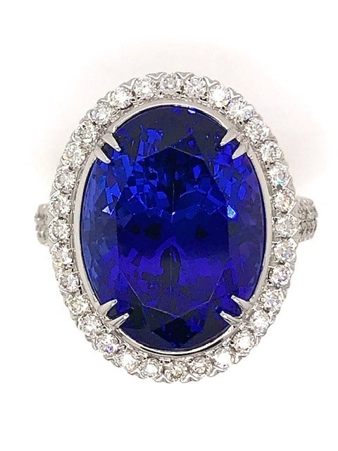 CHRISTOPHER DESIGN 13.85 CARAT TANZANITE AND DIAMOND 18K WHITE GOLD HALO DESIGNER RING