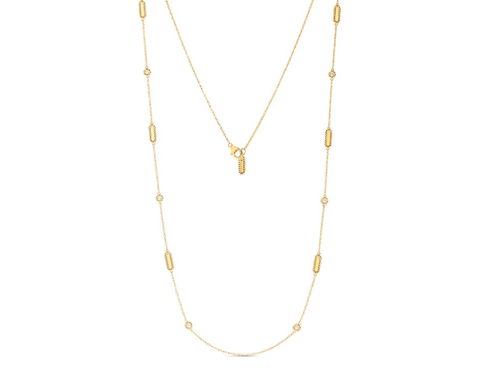 18Kt Yellow Link Station Necklace