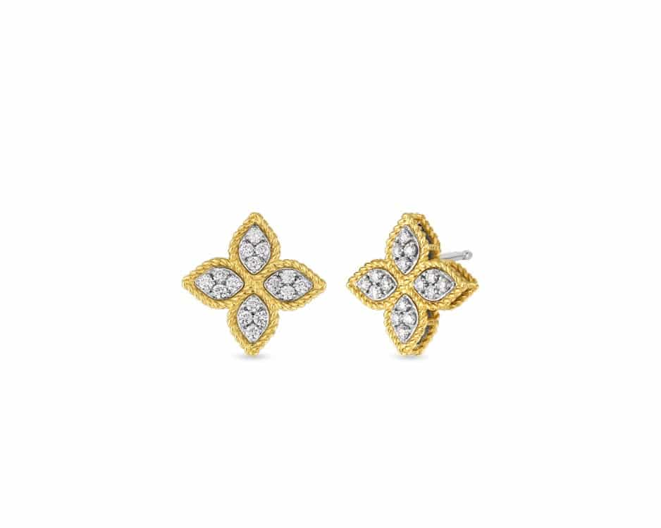 18Kt Two-Tone Flower Diamond Earrings