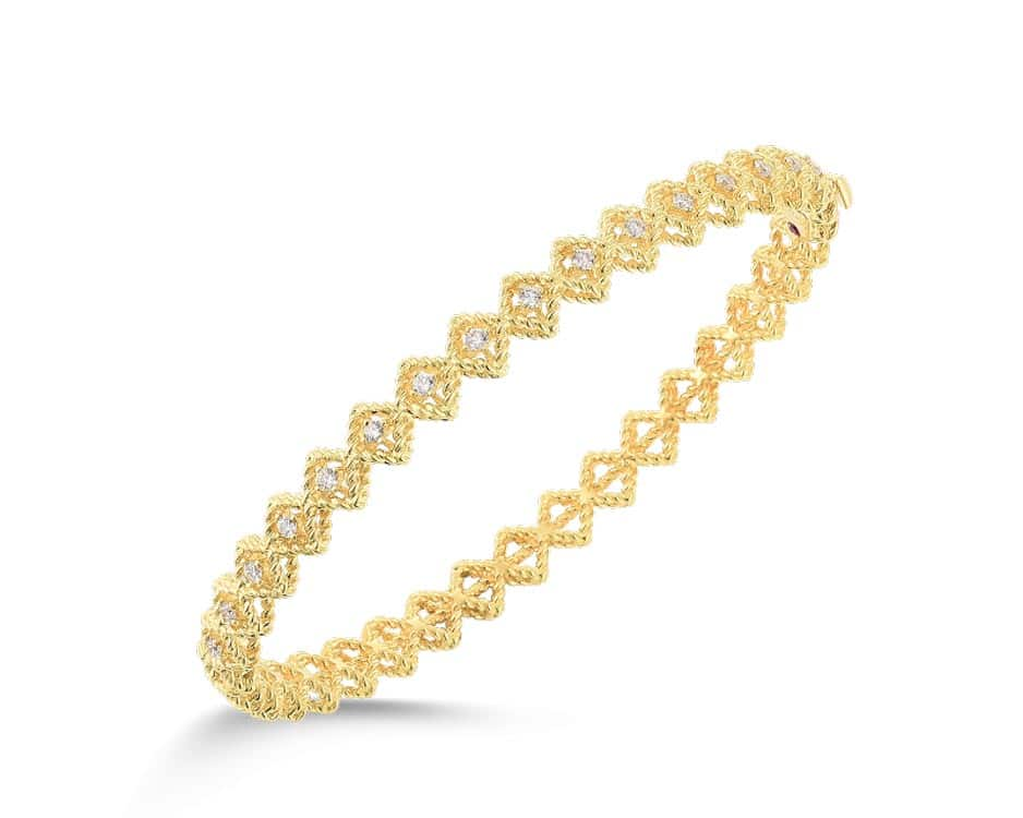 18Kt Wave Hinge Barocco Style Bangle