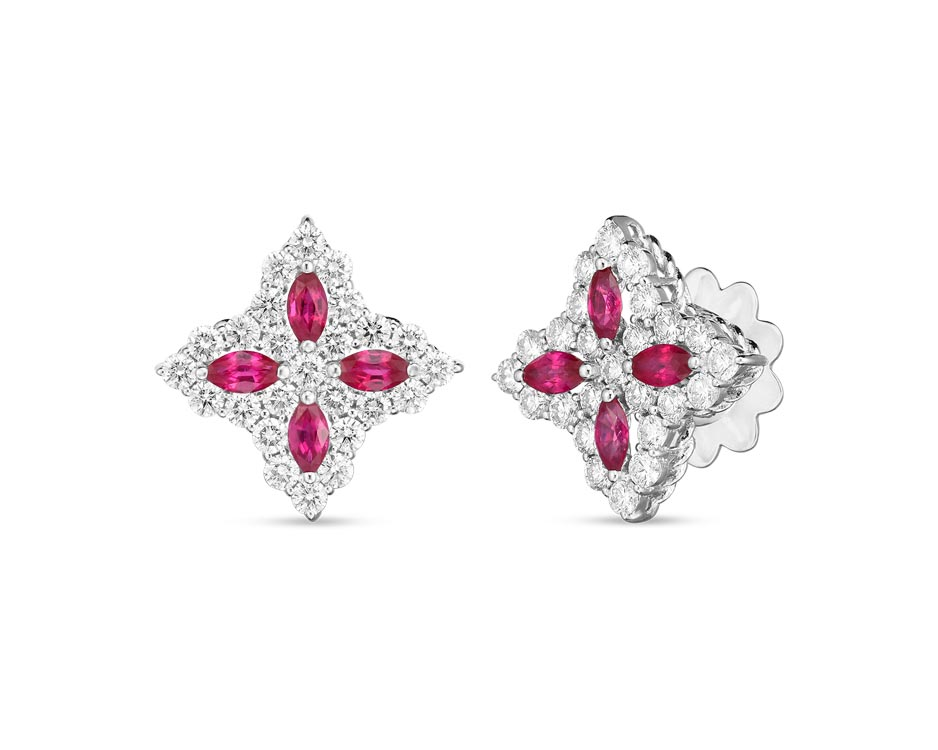 18Kt Flower Princess Earrings