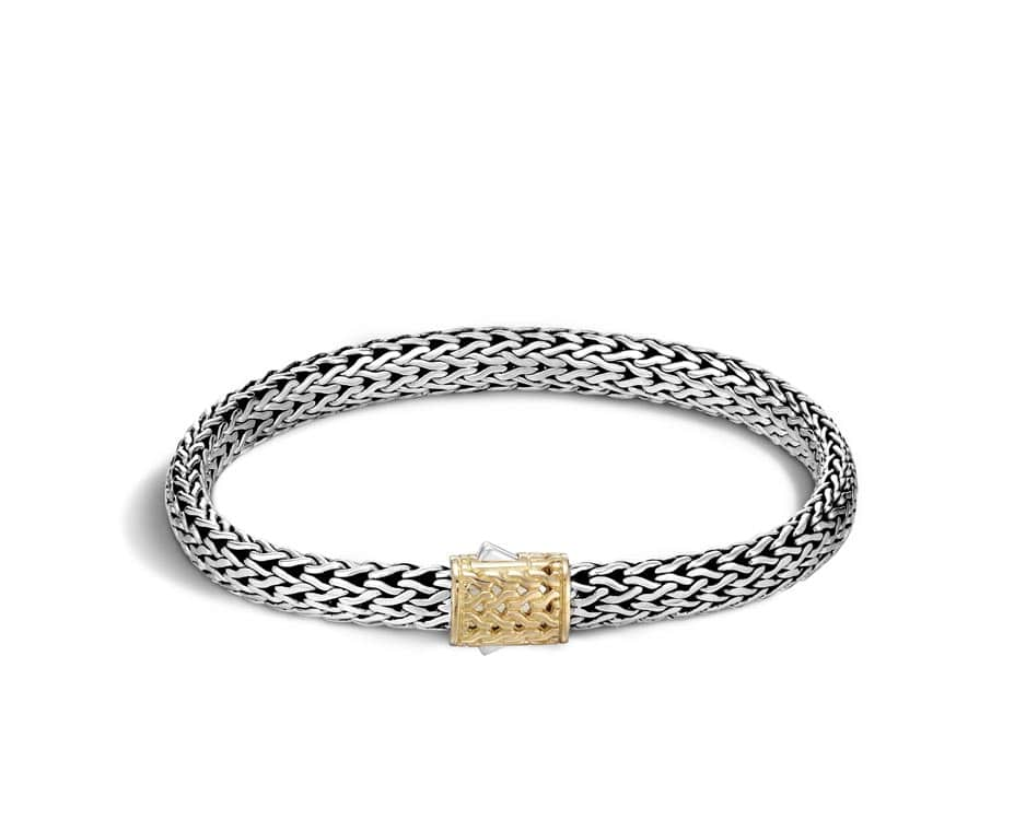 Small Two-Tone 18Kt & Sterling Silver Chain Bracelet