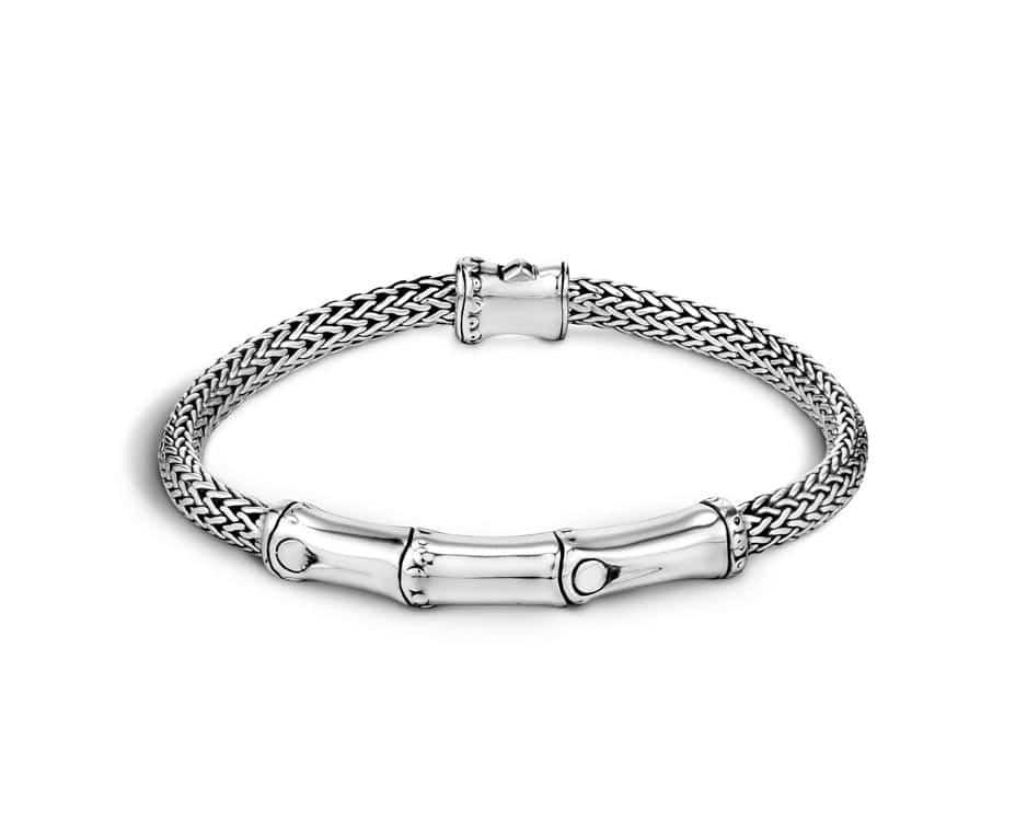 Sterling Silver Bamboo Station Bracelet
