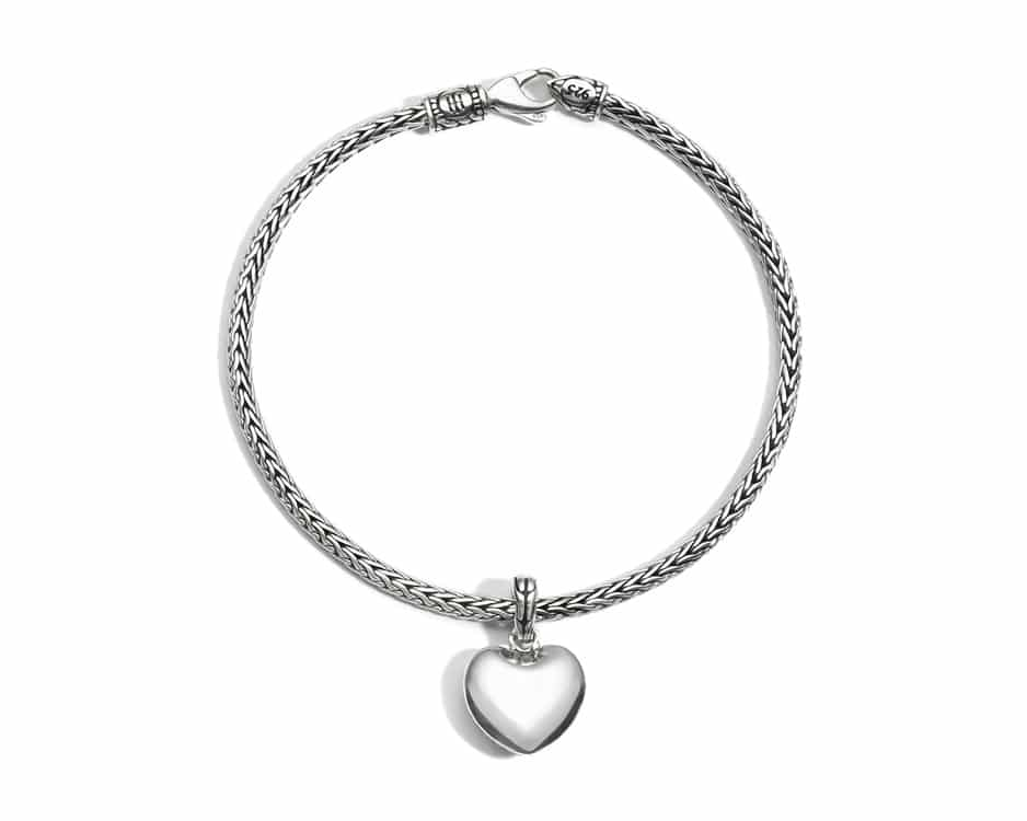 Sterling Silver Mini Chain Bracelet with Heart Charm