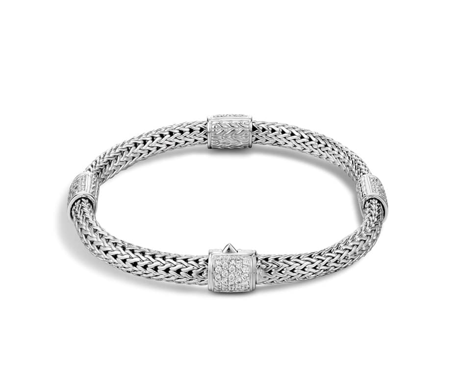 Sterling Silver Four Station Diamond Bracelet