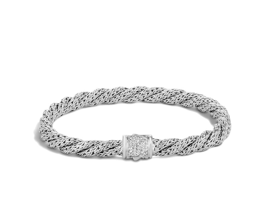 Sterling Silver Twist Chain Diamond Bracelet