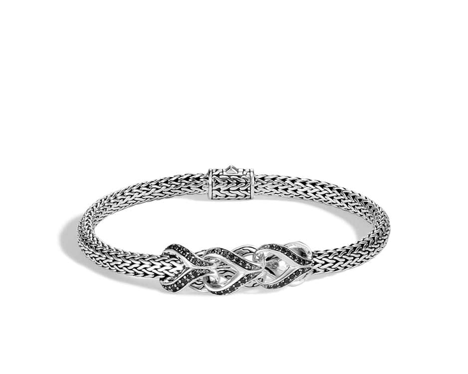 Sterling Silver And Black Spinel Asli Chain