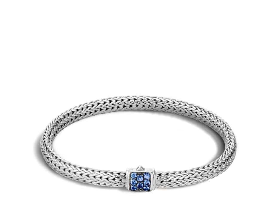 Sterling Silver & Blue Sapphire Chain Bracelet