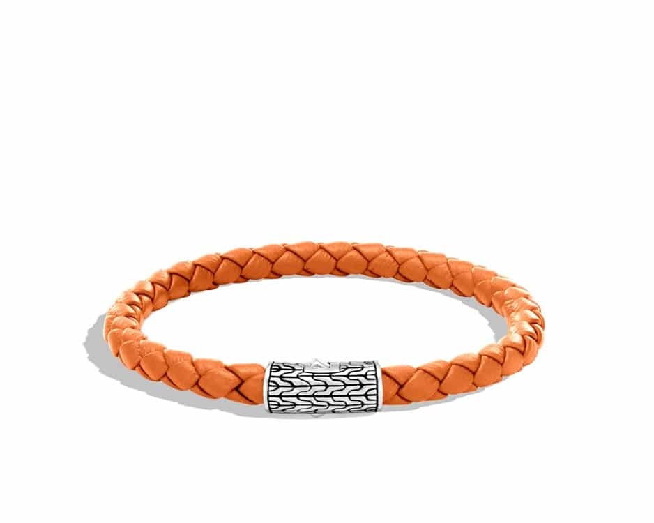 Sterling Silver & Orange Woven Cord Station Bracelet