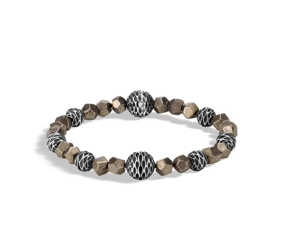 Sterling Silver Legends Naga Bracelet with Pyrite