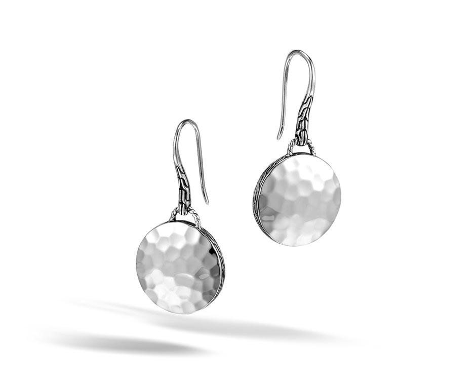 Sterling Silver Hammered Dot Drop Earrings