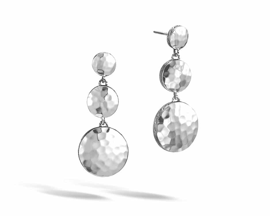 Sterling Silver Hammered Triple Drop Earrings