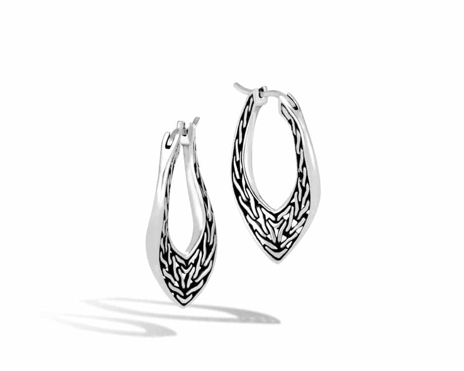Small Sterling Silver Wave Hoop Earrings
