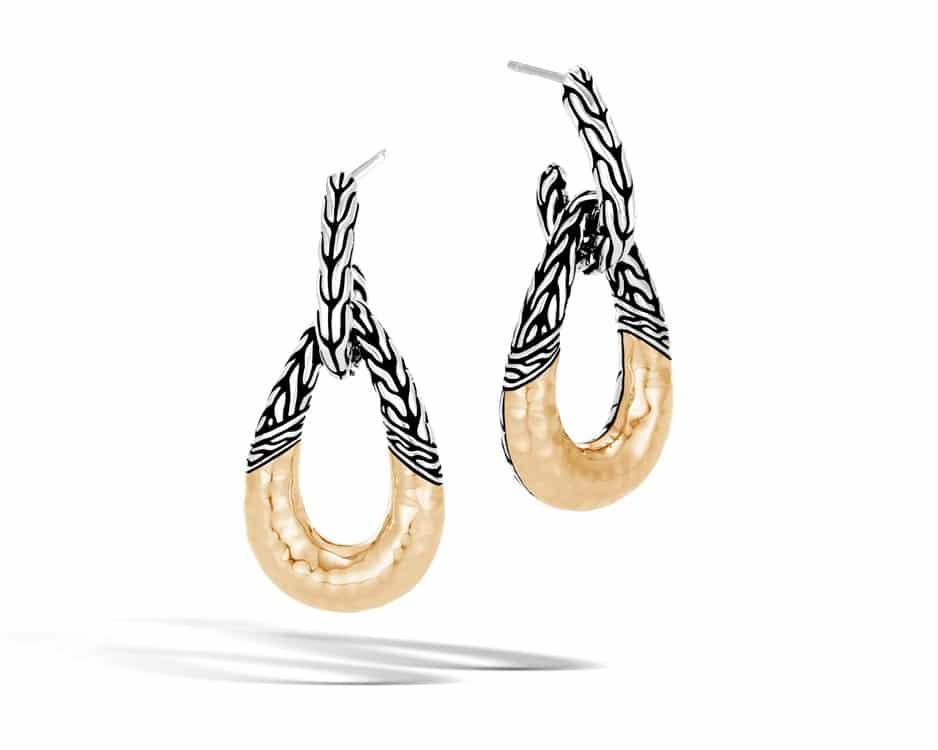 Two-Tone Hammered Hoop Earrings