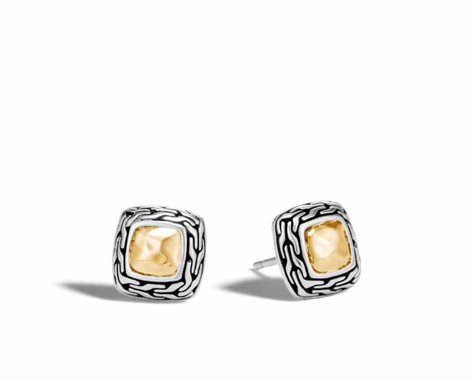Two-Tone Hammered Heritage Stud Earrings by John Hardy
