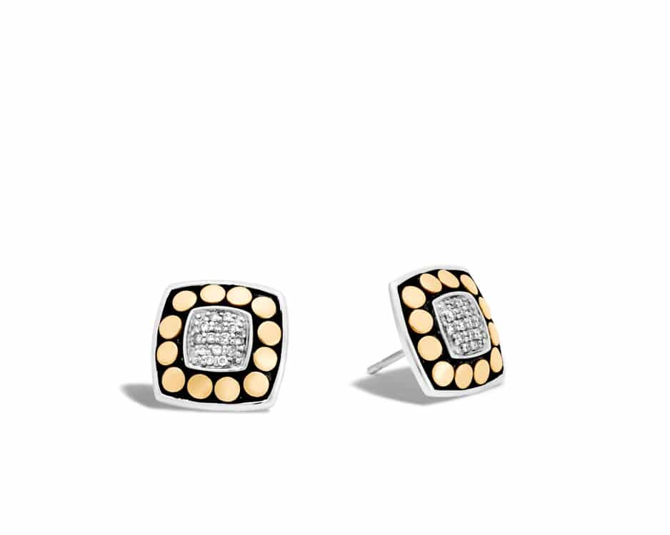 Two-Tone Dot Square Stud Earrings