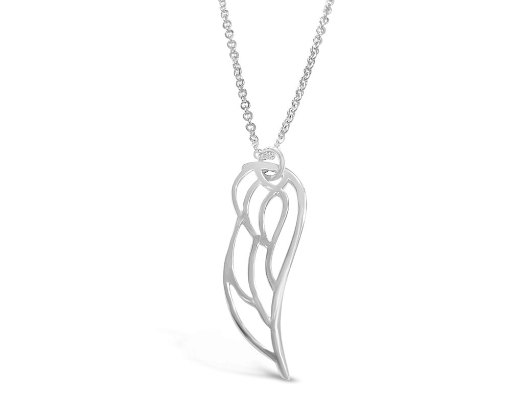 14kt White Gold Angel Wing Pendant