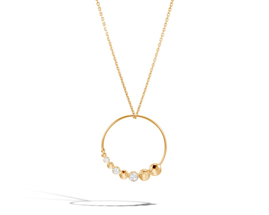 18kt Hammered Dot Pendant with Diamonds