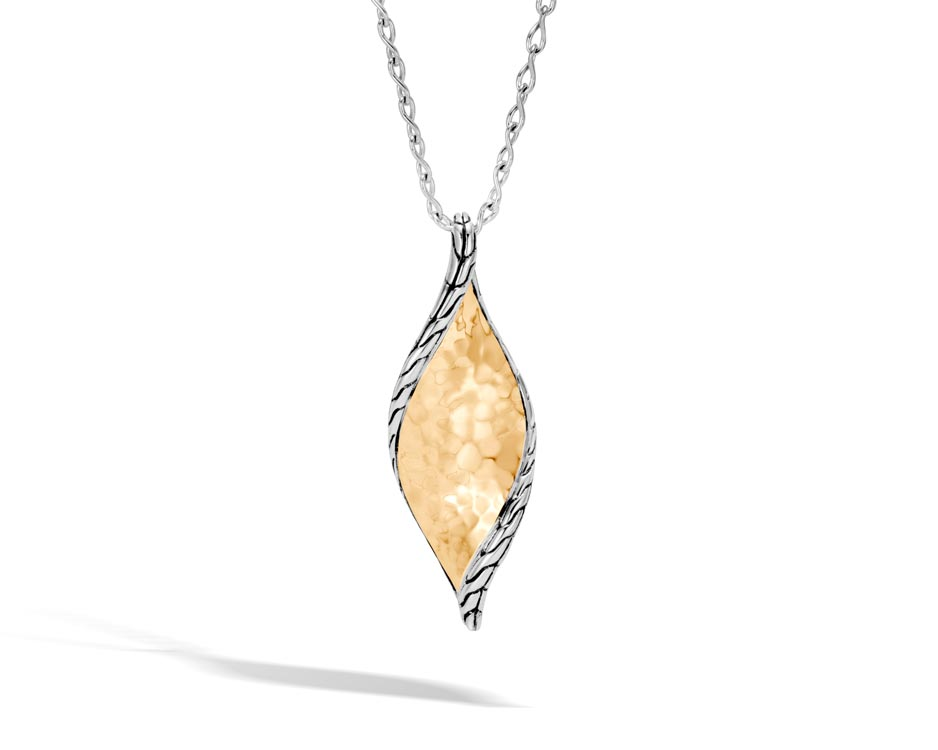 Two-Tone Wave Hammered Gold & Silver Pendant