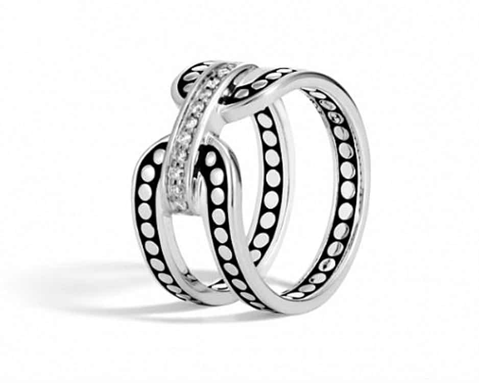 Sterling Silver Dot Diamond Band Ring