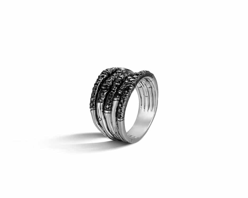 Sterling Silver & Black Sapphire Wide Ring