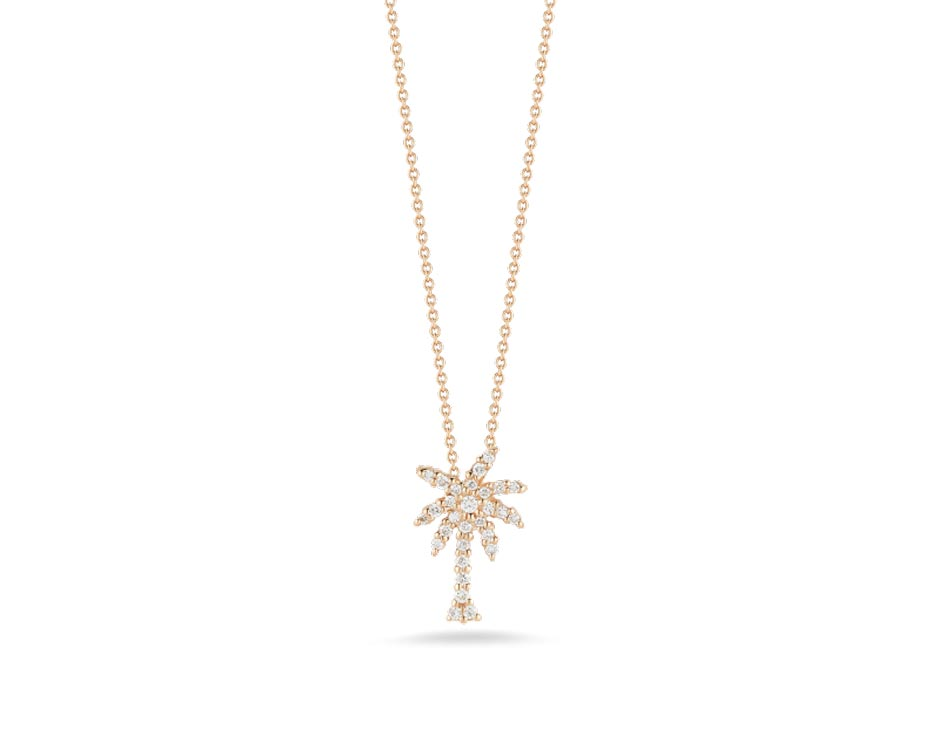 18kt Palm Tree Diamond Pendant