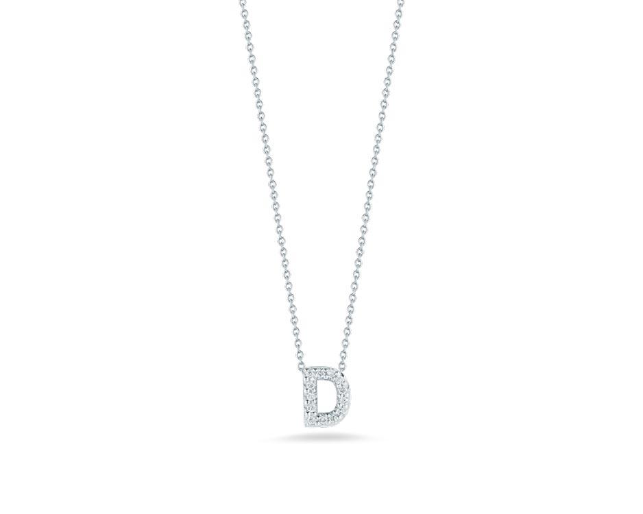 """Love Letter """"D"""" Pendant with Diamonds"""