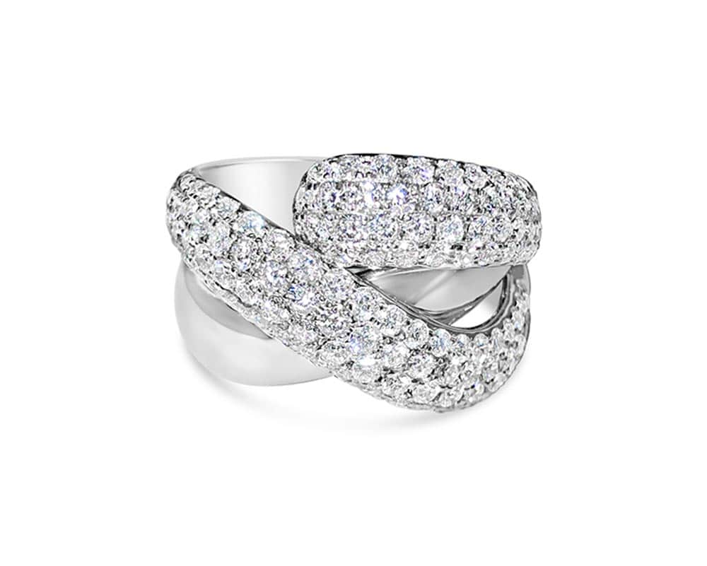 14kt White Gold Free Form Diamond Fashion Ring