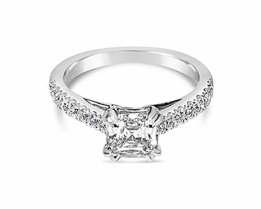 18kt White Gold Engagement Ring with Asscher Chris Cut Center Stone
