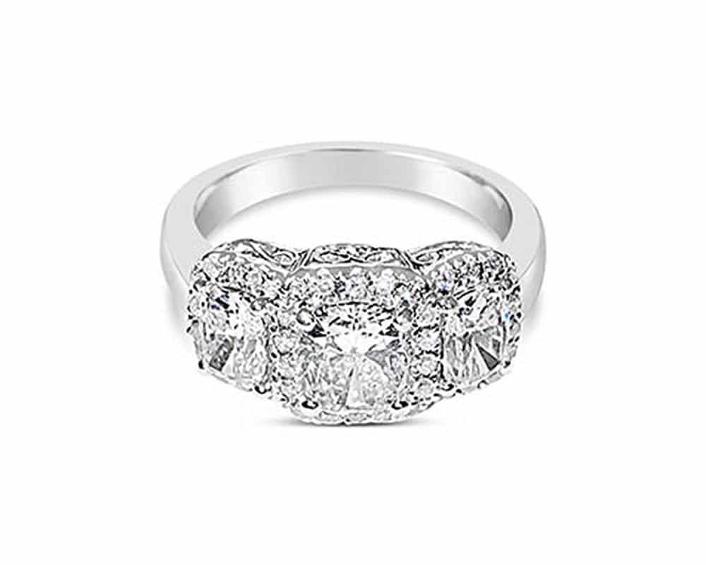 Platinum 3 stone Diamond Cushion Cut Engagement Ring