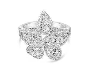 14kt White Gold Flower Halo Fashion Ring w/ Heart, Pear, Marquise and Oval Diamonds