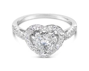 18kt White Gold Heart Shaped Diamond Halo Engagement Ring