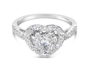 18kt White Gold Heart Shaped Diamond Halo Engagement Ring