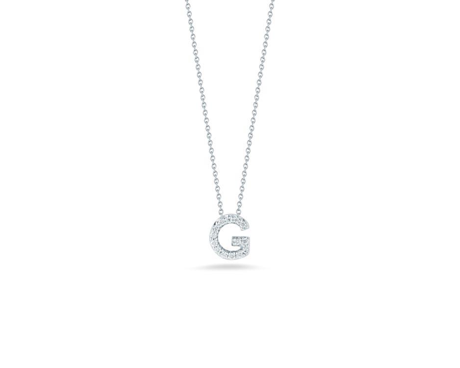 """18Kt White Initial """"G"""" Diamond Pendant"""