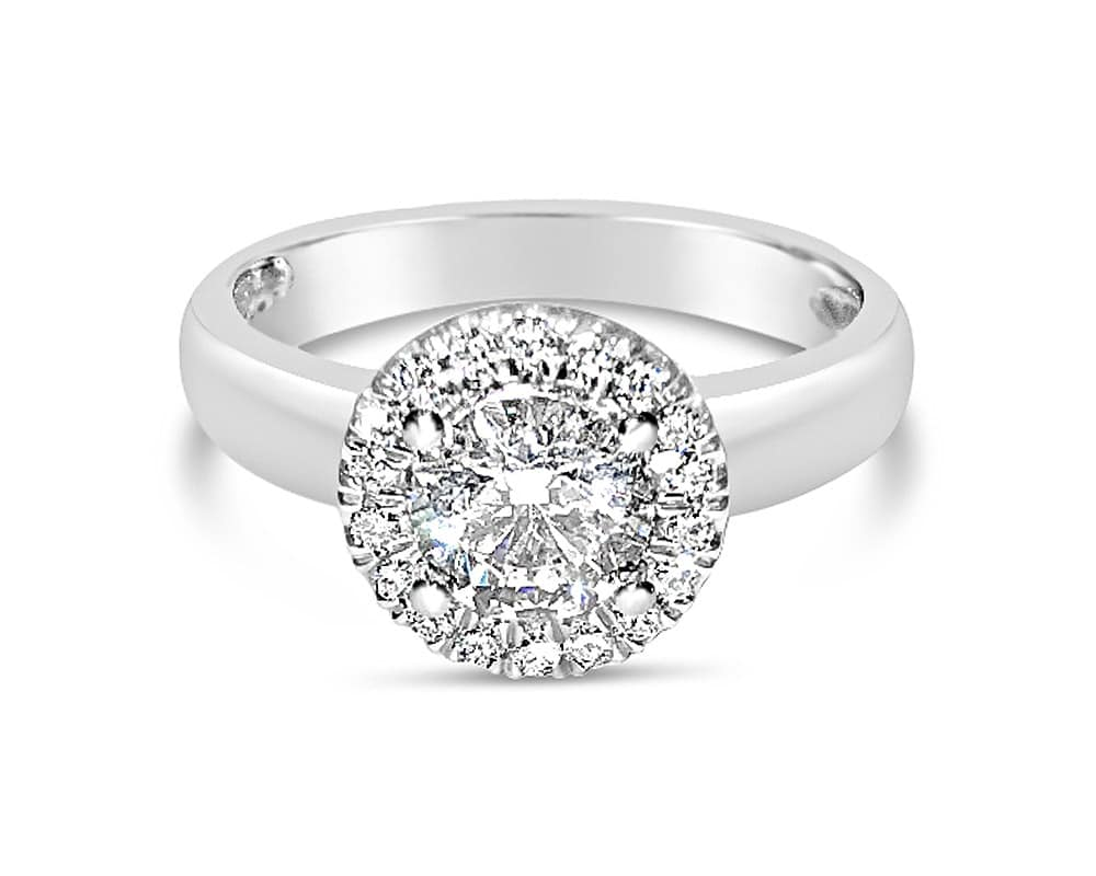 18K White Gold Petite Halo Diamond Engagement Ring