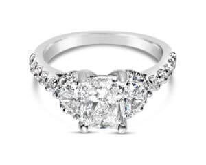 14kt White Gold 3 Stone Diamond Engagement Ring