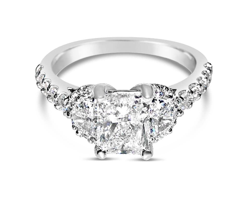 14kt White Gold 3 Stone Diamond Engagement Ring