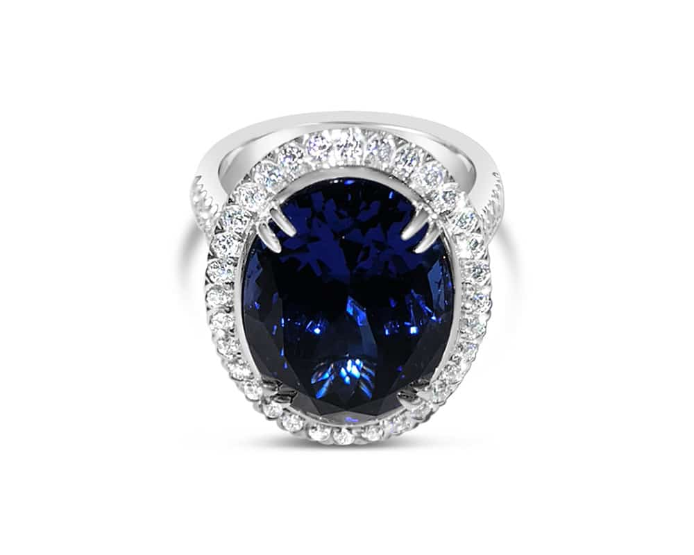 18kt White Gold Oval 13.85ct Tanzanite Halo Ring