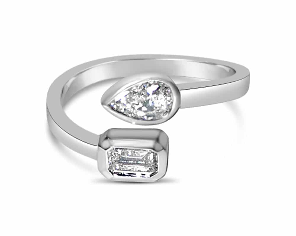 14kt White Gold Diamond Fashion Bypass Ring