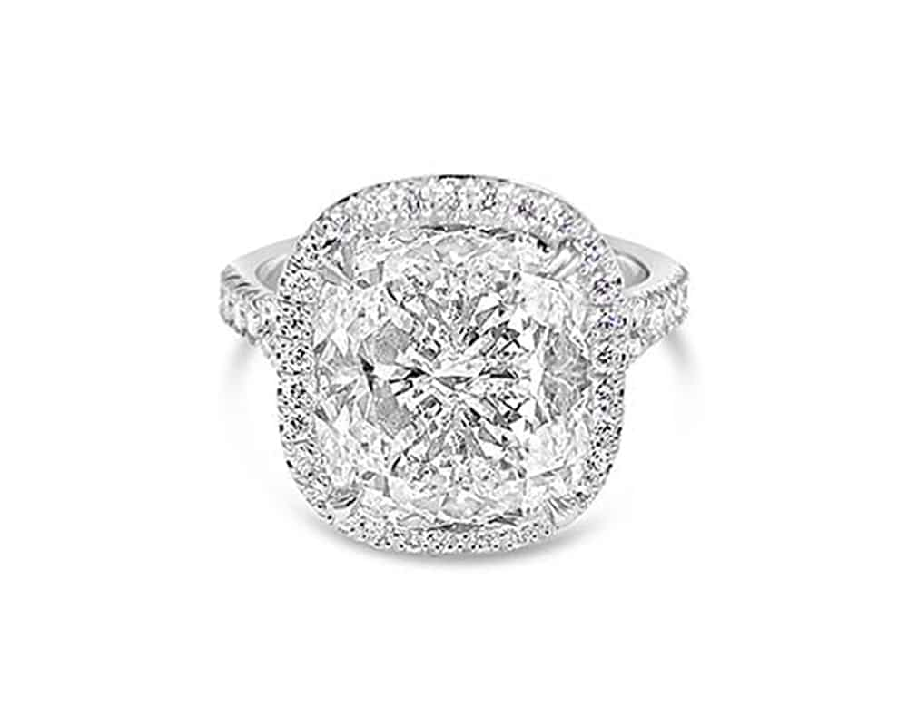 Platinum Halo Engagement Ring w/ 7.26Ct Cushion Cut Center Stone