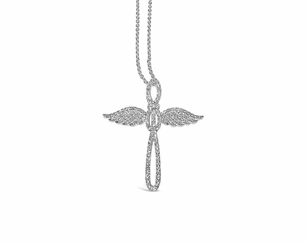 18kt White Gold Cross & Wings Diamond Pendant