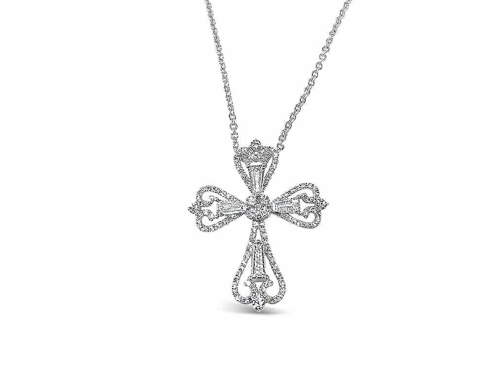 18kt White Gold Diamond Cross Pendant with Tapered Baguettes
