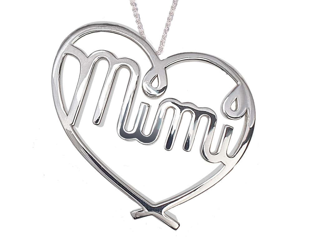 Heart Lines™  Large My Heart, My Mimi Pendant Sterling Silver