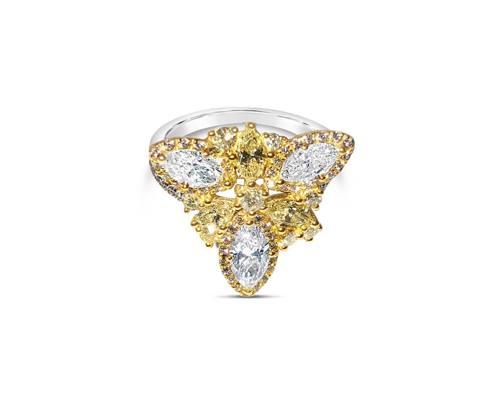 18kt Two-tone Diamond Fashion Ring with Round, Marquise Shaped Diamonds