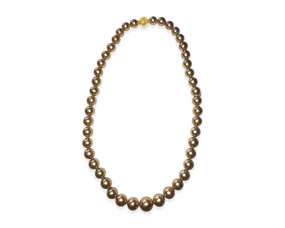 18kt Yellow Gold A+ Quality Gold South Sea Pearl Strand with Diamond in Clasp