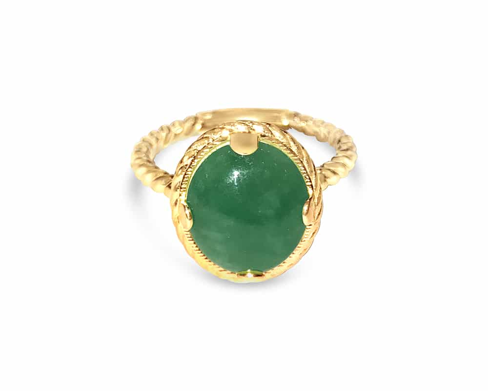 14kt Yellow Gold Rope Fashion Ring with Oval Jade