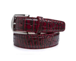 40mm Red Vintage Nile Crocodile Belt