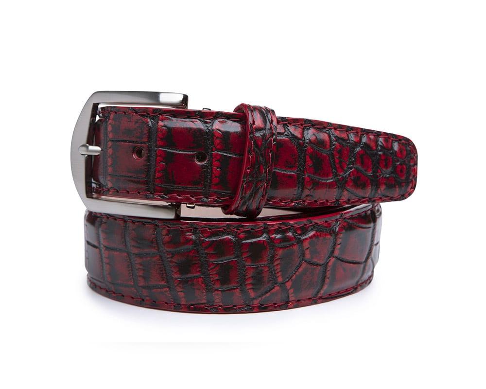 40mm Red Vintage Nile Crocodile Belt