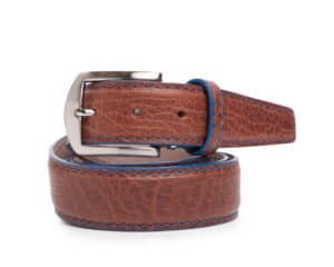 40mm Cognac American Bison Belt With Denim Stitch